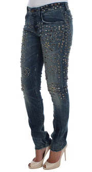 Crystal Silver Studded Slim Fit Jeans