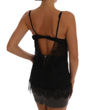 Black Silk Lace Chemise Lingerie Top