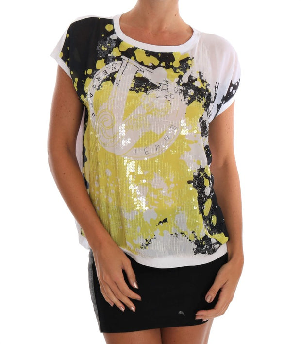 White Sequined Motive Print Blouse