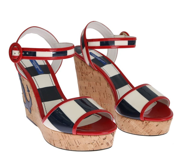 Red White Blue Wedges Platform Sandals