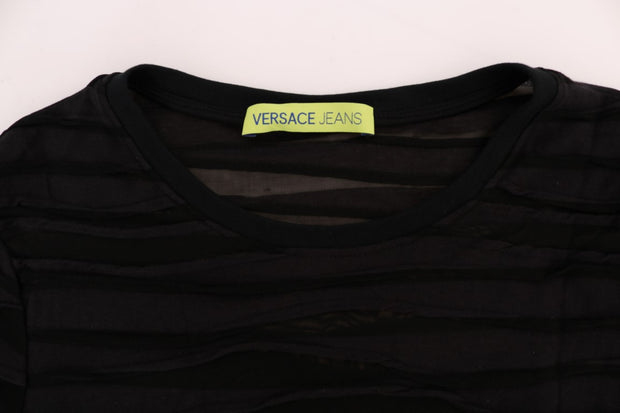 Black Stretch Ruffled T-Shirt