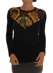 Black Stretch Baroque Pullover Sweater