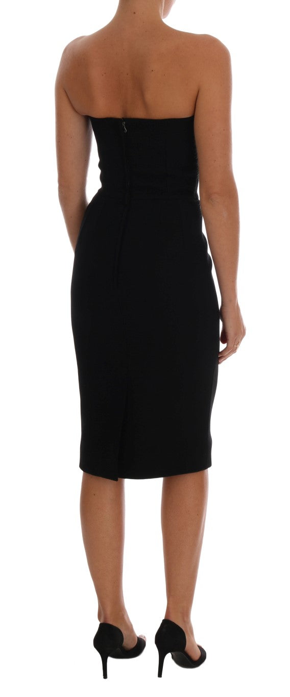 Black Wool Stretch Slim Dress