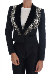 Black Brocade Crystal Blazer
