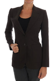 Brown Wool Cotton Two Button Blazer Jacket
