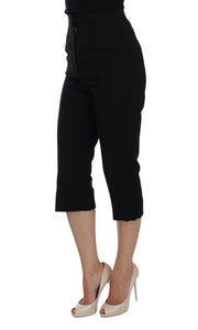Black Wool Stretch High Waist 3/4 Pants
