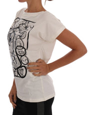 White Cotton Stretch Motive Print T-Shirt