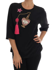 Black Silk Fairy Tale Top Crystal Blouse