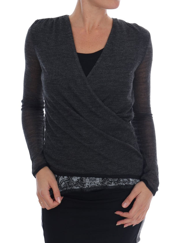 Gray Wool Lace Top Long Sleeved T-shirt