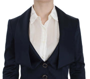 Blue Three Button Single Breasted Blazer Jacket