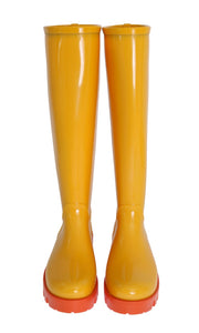 Yellow Rubber Knee Rain Boots