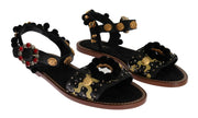Black Leather PomPom Crystal Sandals