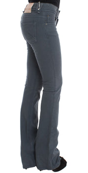 Blue Cotton Blend Slim Fit Bootcut Jeans