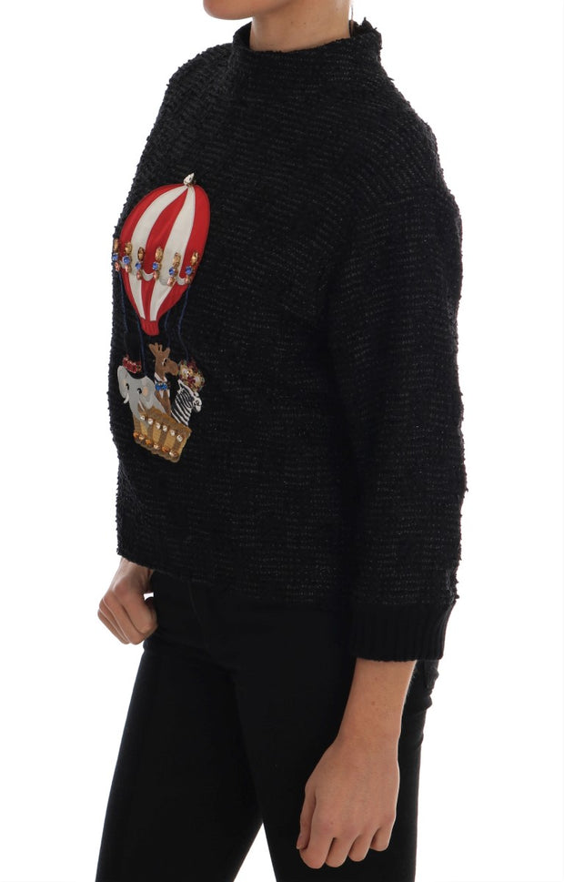 Black Fairy Tale Crystal Zipper Sweater