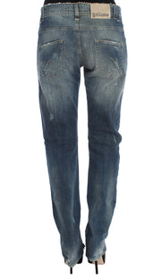 Blue Wash Cotton Blend Boyfriend Fit Jeans