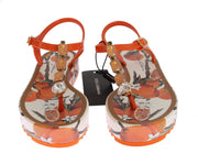 Orange Crystal Beachwear Sandals