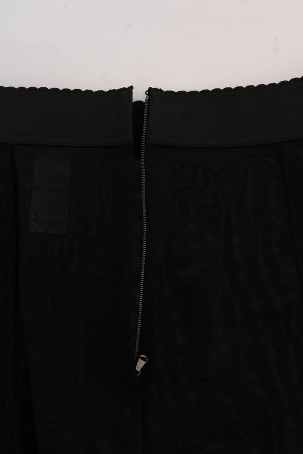 Black Stretch Straight Pencil Skirt
