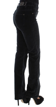 Black Cotton Blend Slim Fit Bootcut Casual Pants