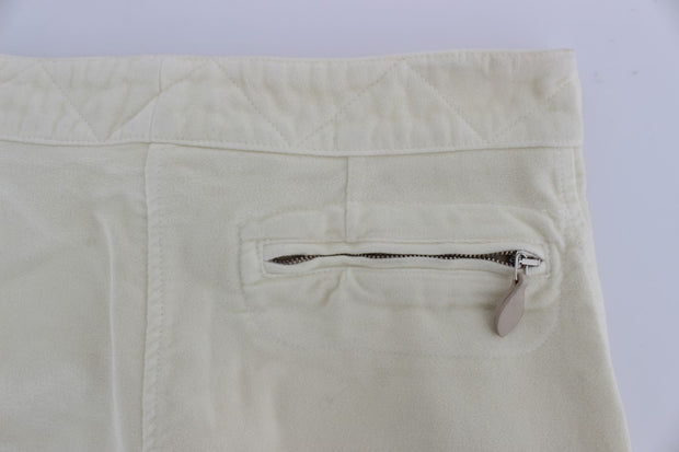 Beige Cotton Capri Cropped Cargo Pants