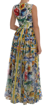 Majolica Print Silk A-line Maxi Dress