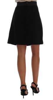 Black Embellished Wheel Wool Crepe Mini Skirt