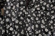 Black Floral Print Padded Raincoat