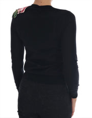 Black Cashmere Floral Cardigan Sweater