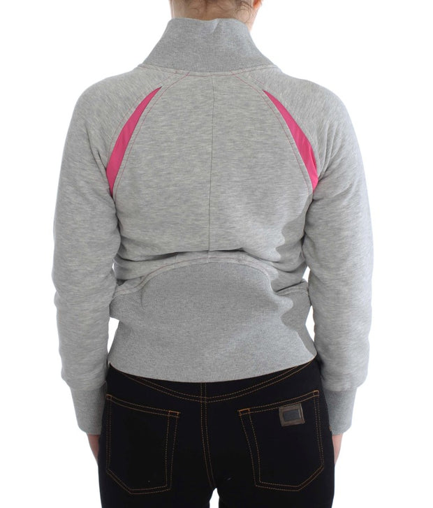 Gray Sport Cotton Zipper Sweater