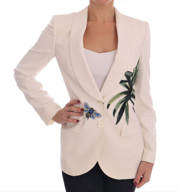 White Wool Crystal Blazer Jacket
