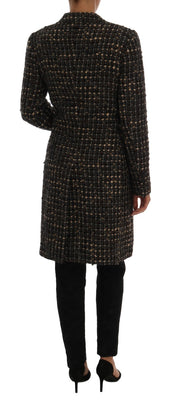 Brown Wool Tweed Single Breasted Jacket