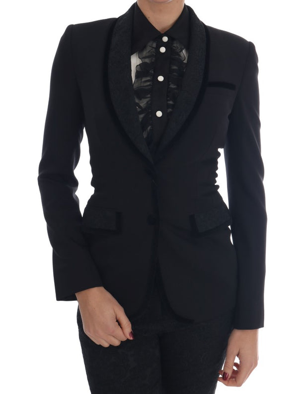 Black Floral Brocade Blazer Jacket