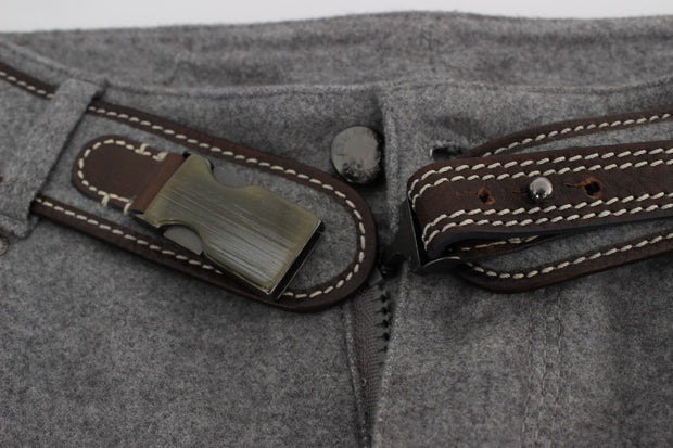 Gray Cotton Slim Fit Casual Bootcut Pants