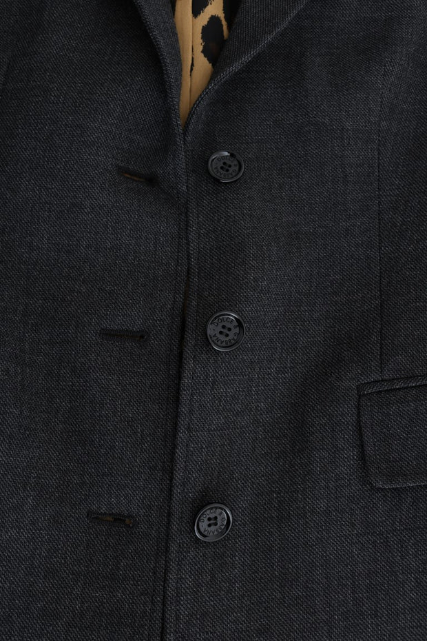 Gray Wool Classic Single Breasted Jacket