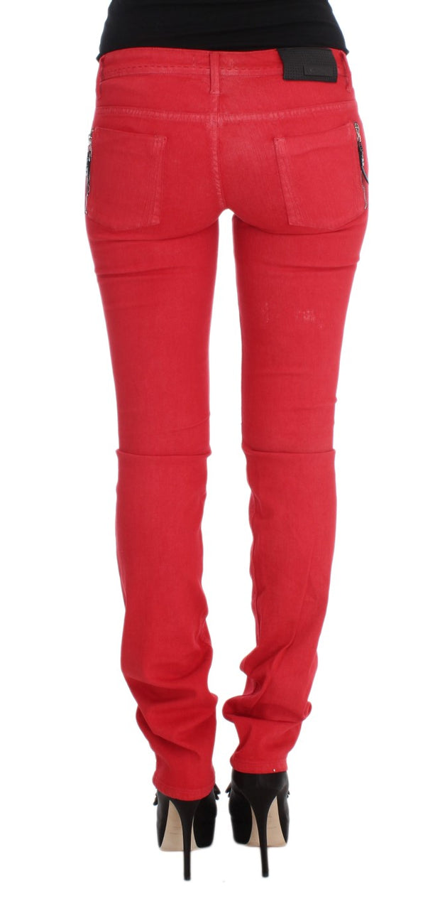 Red Cotton Blend Super Slim Fit Jeans