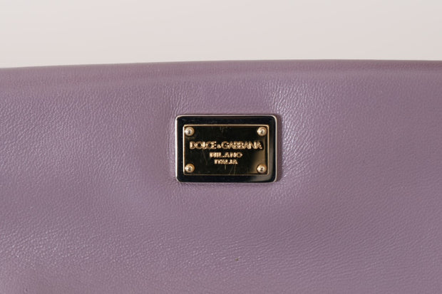 Purple CLEO Leather Heart Crystal Clutch Bag