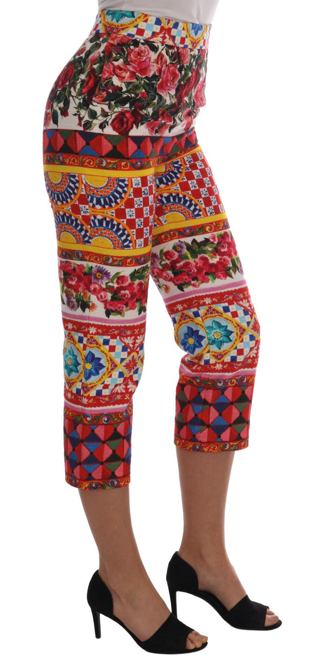 Multicolor Carretto Print Capri Pants