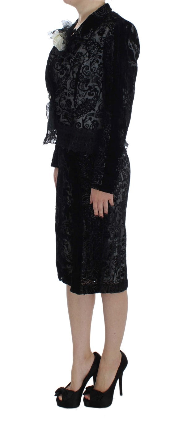 Black Floral Sheath Dress & Blazer Set