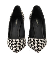 White Black Hair Leather Pumps