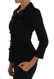 Black Wool Stretch Trench Jacket