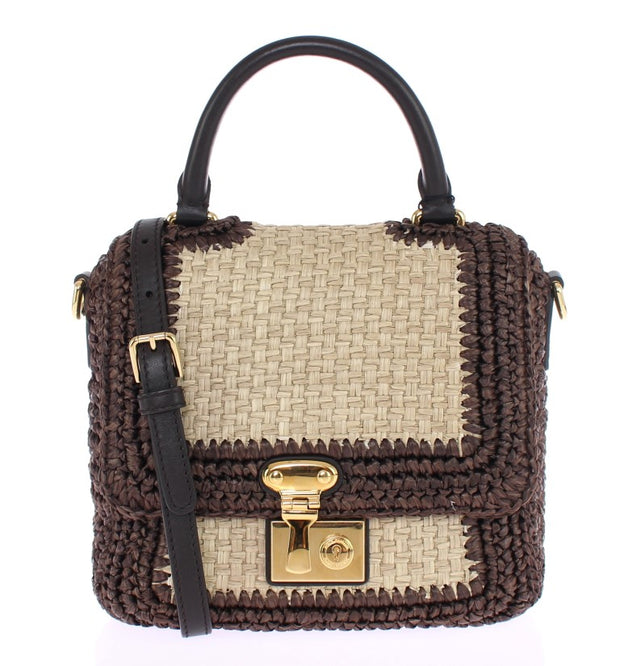 Brown Raffia Leather Messenger Bag