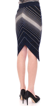 Knitted Chevron Striped Assymetrical Skirt