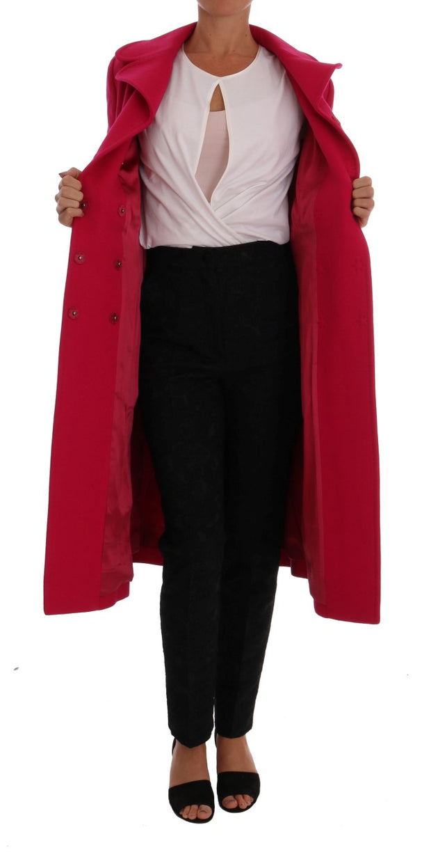 Pink Wool Trenchcoat Long Jacket