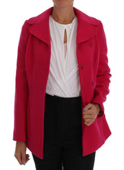 Pink Wool Trenchcoat Double Breasted Jacket