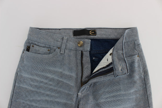 Blue Cotton Slim Fit Denim Capri Cropped Jeans
