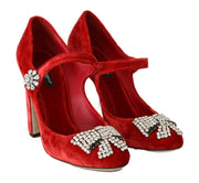 Red Velvet Crystal Mary Janes Pumps
