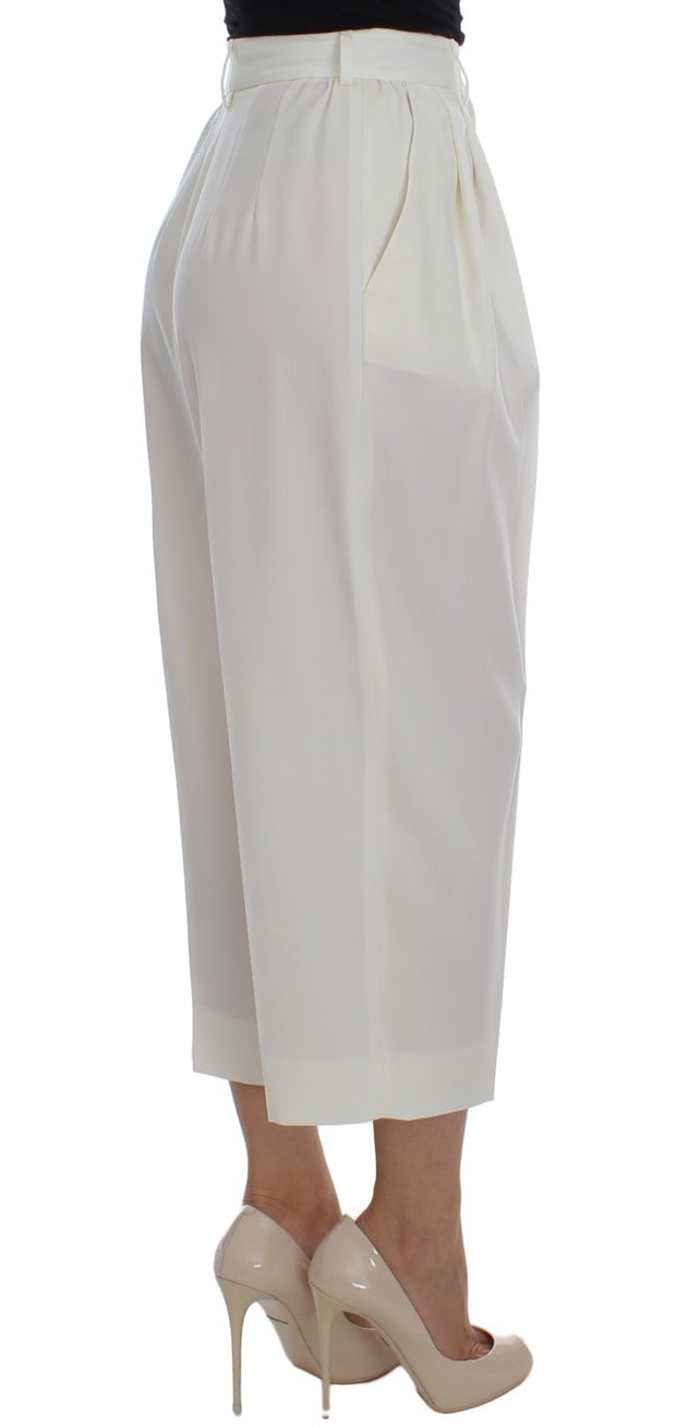 White Dress Wool Capri High Waist Pants