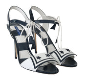 Blue White Leather Sandals MARINA Shoes