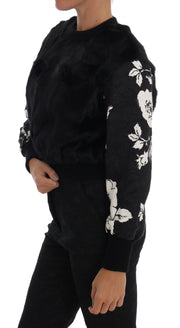 Black Fur Floral Brocade Zipper Sweater