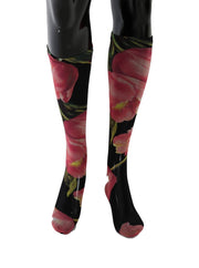 Multicolor Floral Tulip Nylon Socks