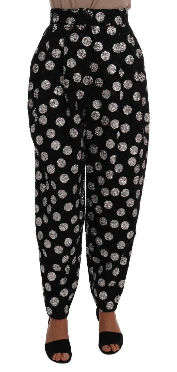 Black Cotton Silver Polka Dot Pants
